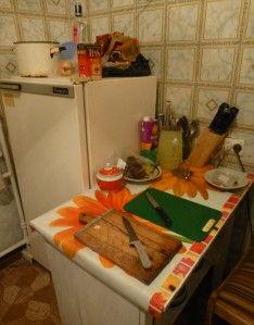 My kitchen, new fridge, knife set & cutting board!