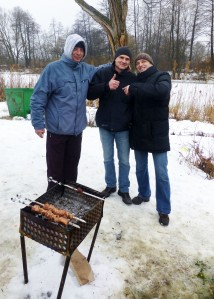 Of course, there is a Shashleek BBQ on the side. Our friend Vova, his cousin and good friend.