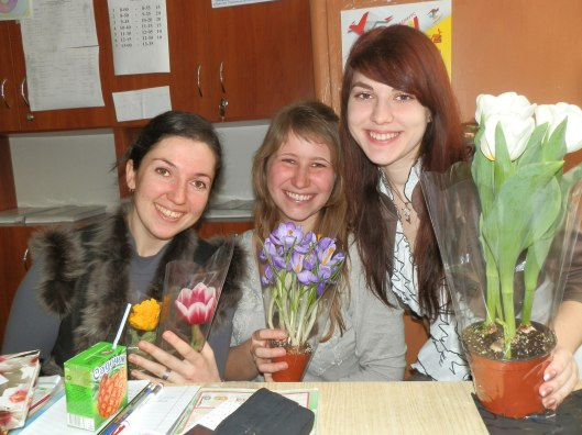 Liza, me and Lena basking in our flowers.