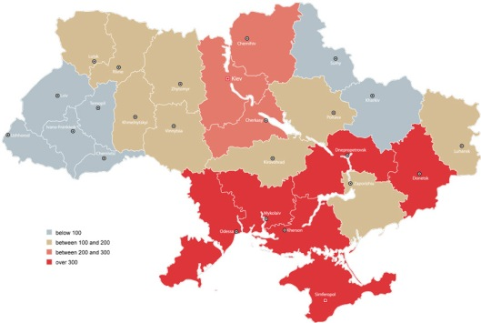 HIV prevalence by regions in Ukraine3 (per 100,000 population) - http://www.unaids.org.ua/situation